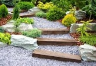 sloped yard to gravel stairs